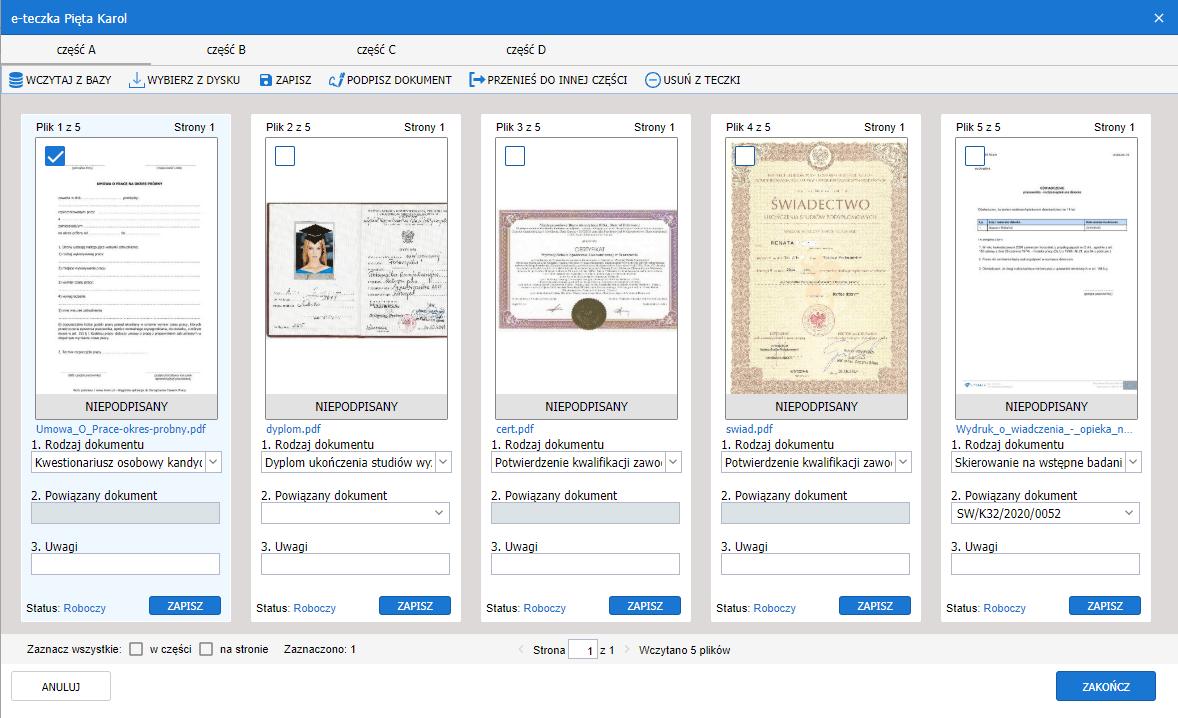 Dokumentacja elektroniczna pracownika